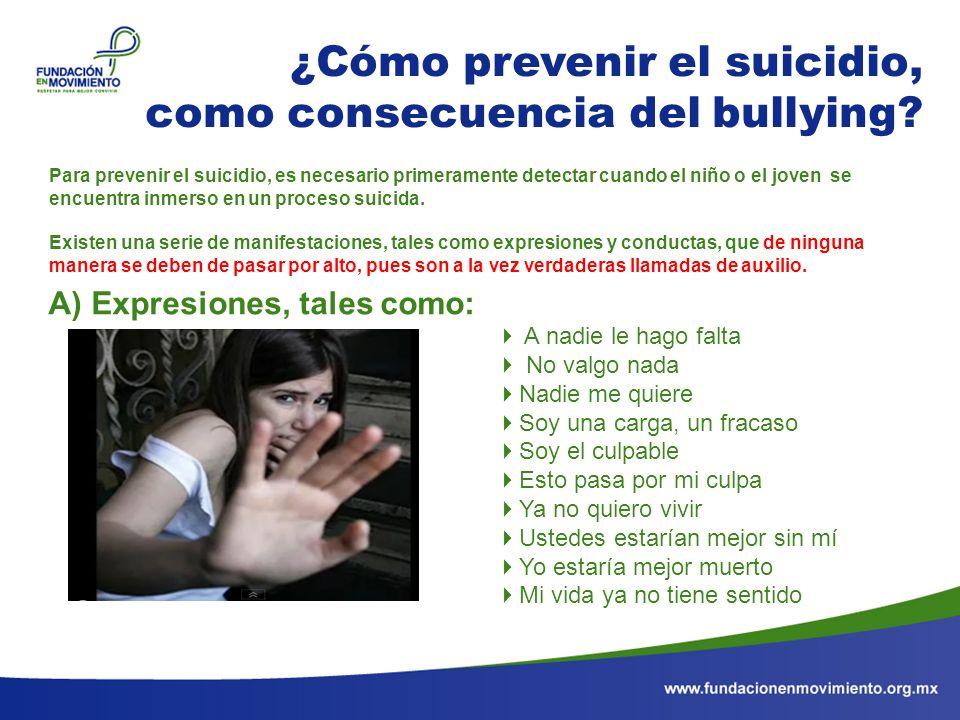 ¿Cómo prevenir el suicidio, como consecuencia del bullying? A nadie le hago falta No valgo nada Nadie me quiere Soy una carga, un fracaso Soy el culpa