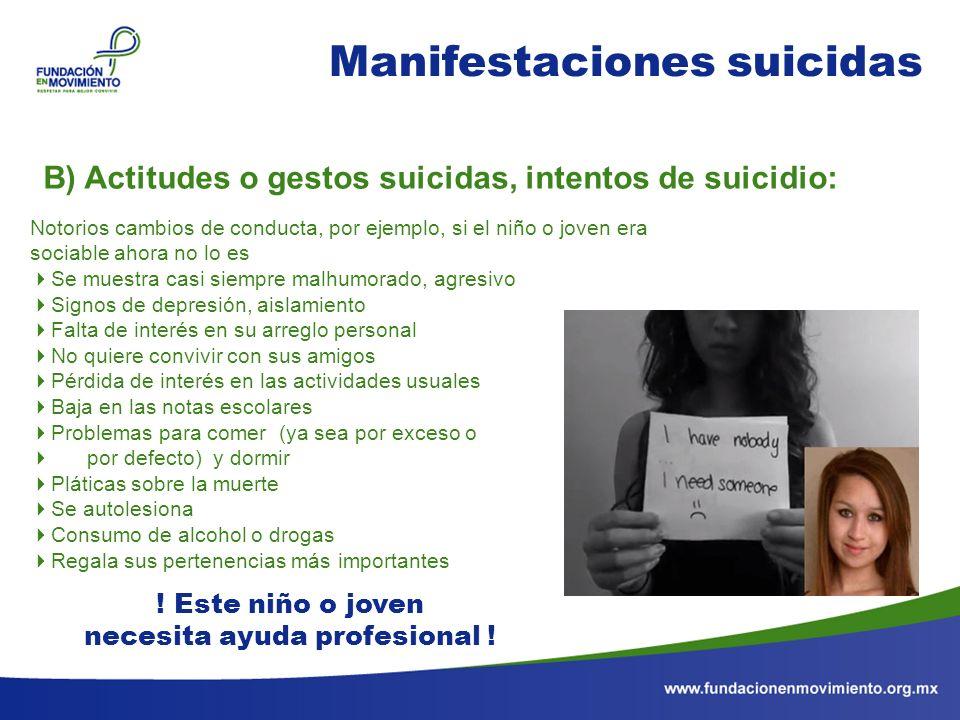 Manifestaciones suicidas Notorios cambios de conducta, por ejemplo, si el niño o joven era sociable ahora no lo es Se muestra casi siempre malhumorado