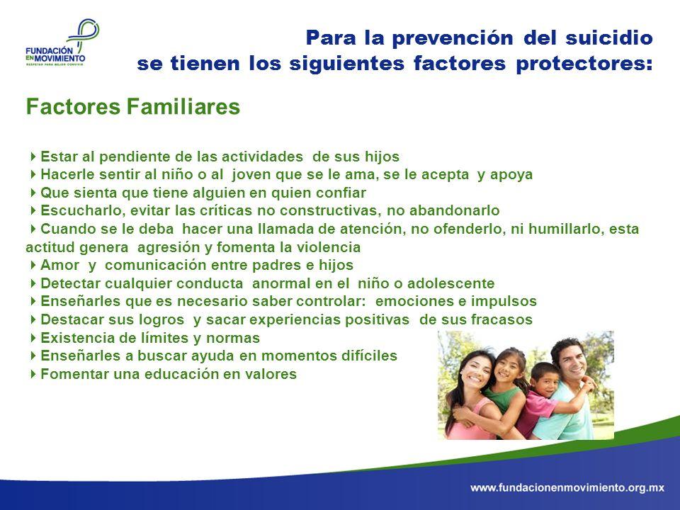 Para la prevención del suicidio se tienen los siguientes factores protectores: Factores Familiares Estar al pendiente de las actividades de sus hijos