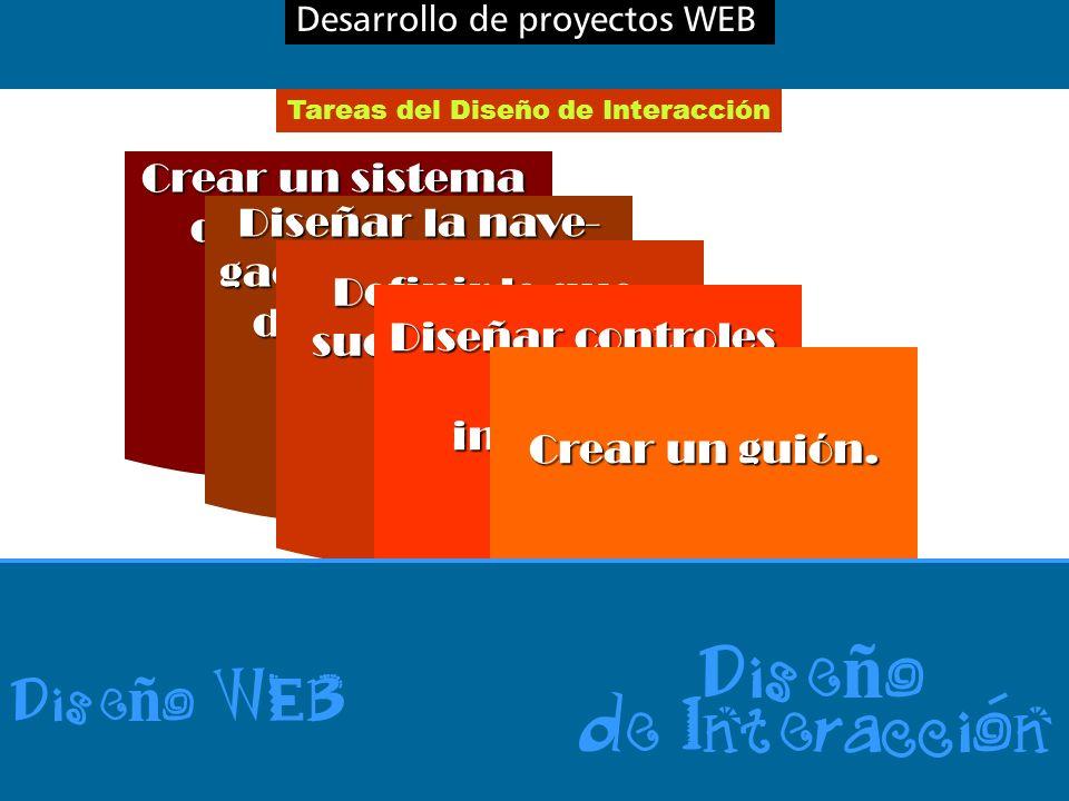 Desarrollo de proyectos WEB Tareas del Diseño de Interacción Crear un sistema de guía para orientar al usuario.