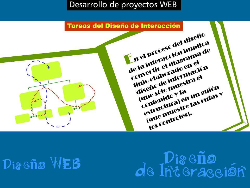 Desarrollo de proyectos WEB Dise ñ o WEB Dise ñ o de Interaccion Tareas del Diseño de Interacción E n el proceso del diseño de la interacción implica convertir el diagrama de flujo elaborado en el diseño de información (que sólo muestra el contenido y la estructura) en un guión (que muestre las rutas y los controles).