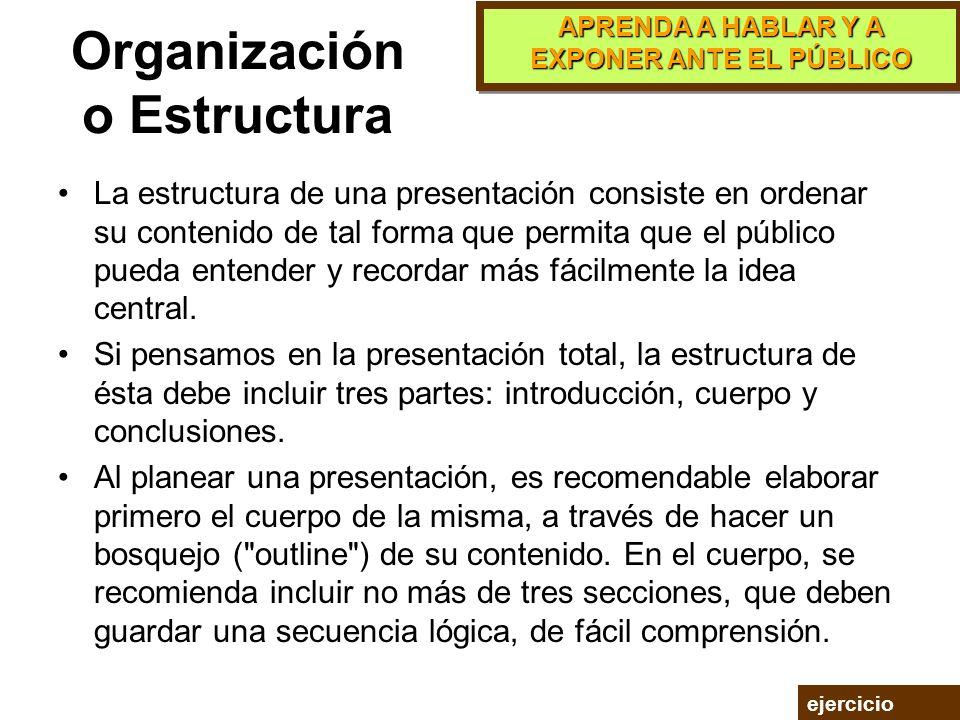 APRENDA A HABLAR Y A EXPONER ANTE EL PÚBLICO El Mensaje El segundo elemento de la etapa de planeación se refiere a la elaboración del mensaje de la pr