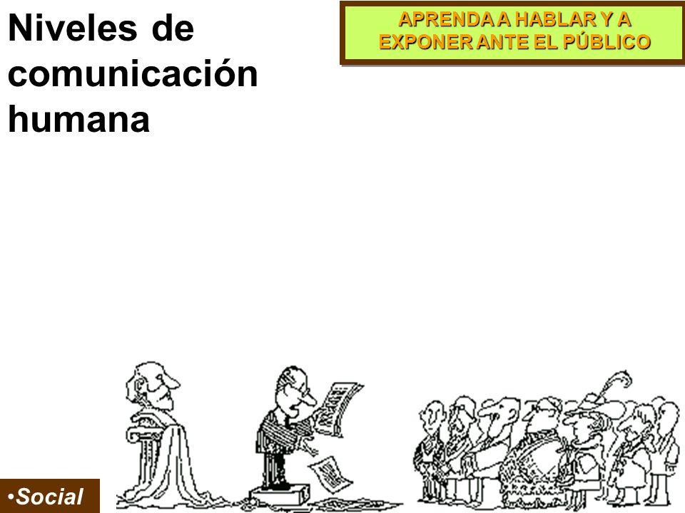 APRENDA A HABLAR Y A EXPONER ANTE EL PÚBLICO Grupal Organizacional Niveles de comunicación humana
