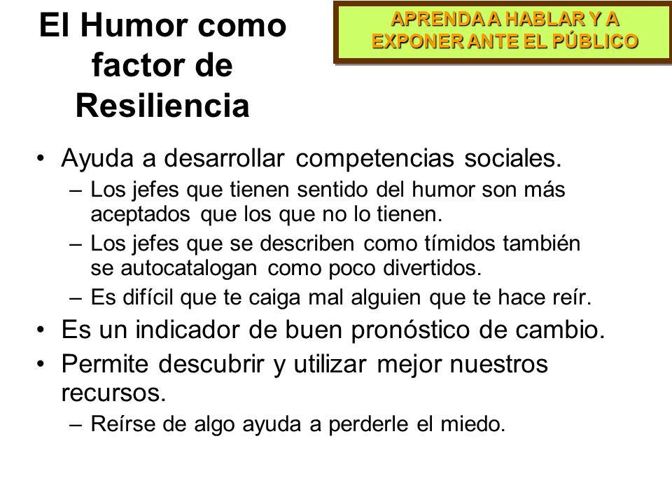 APRENDA A HABLAR Y A EXPONER ANTE EL PÚBLICO Relación entre Resiliencia y Humor La resiliencia es más que ponerle al mal tiempo buena cara...es un rec