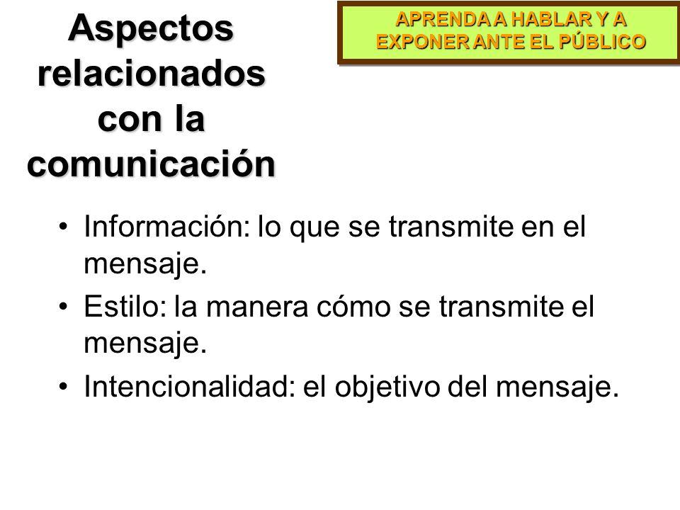 APRENDA A HABLAR Y A EXPONER ANTE EL PÚBLICO Proceso de la Comunicación El proceso de la comunicación incluye: –Desarrollo de una idea –Codificación –