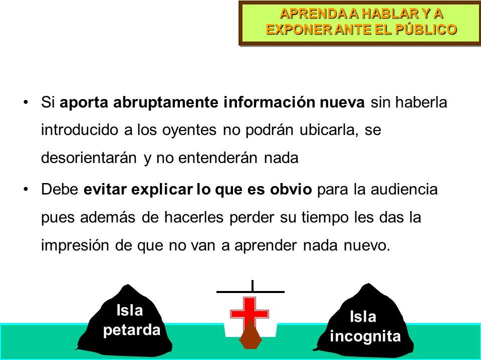 APRENDA A HABLAR Y A EXPONER ANTE EL PÚBLICO Metodología: Exponga progresivamente Estrategia: introduzca la información nueva a partir de la familiar.