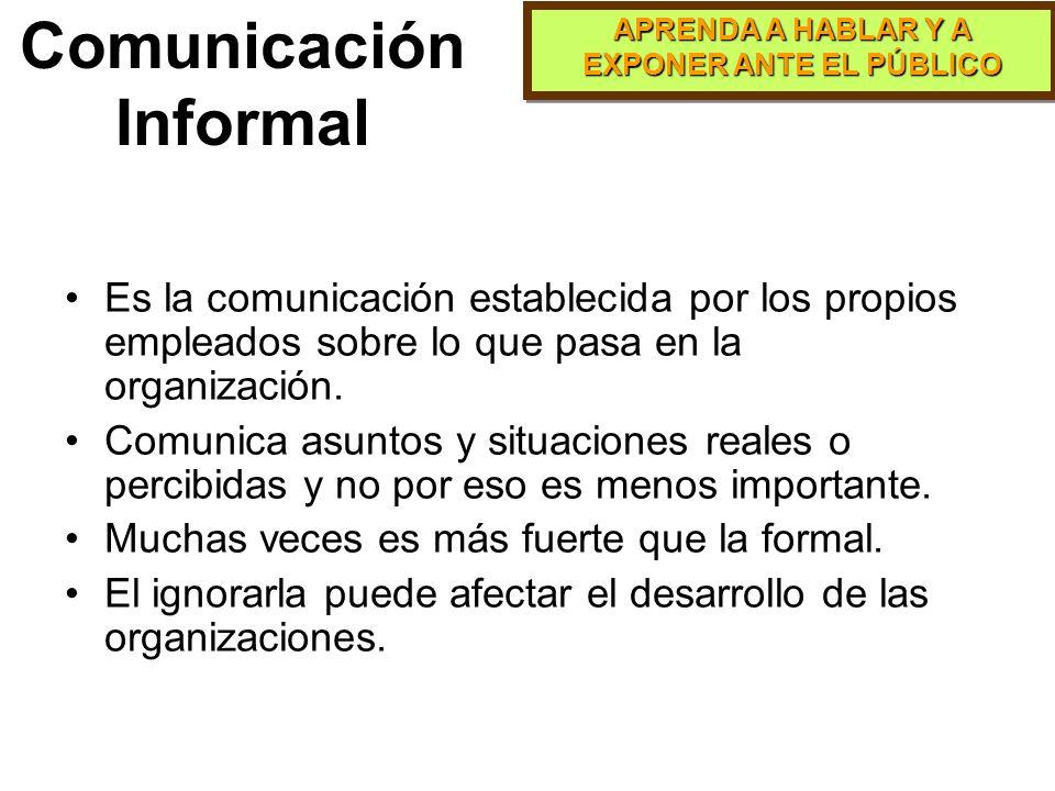 APRENDA A HABLAR Y A EXPONER ANTE EL PÚBLICO Es la comunicación que se da mediante comunicados, sistemas de información interna(oficial), la que conti