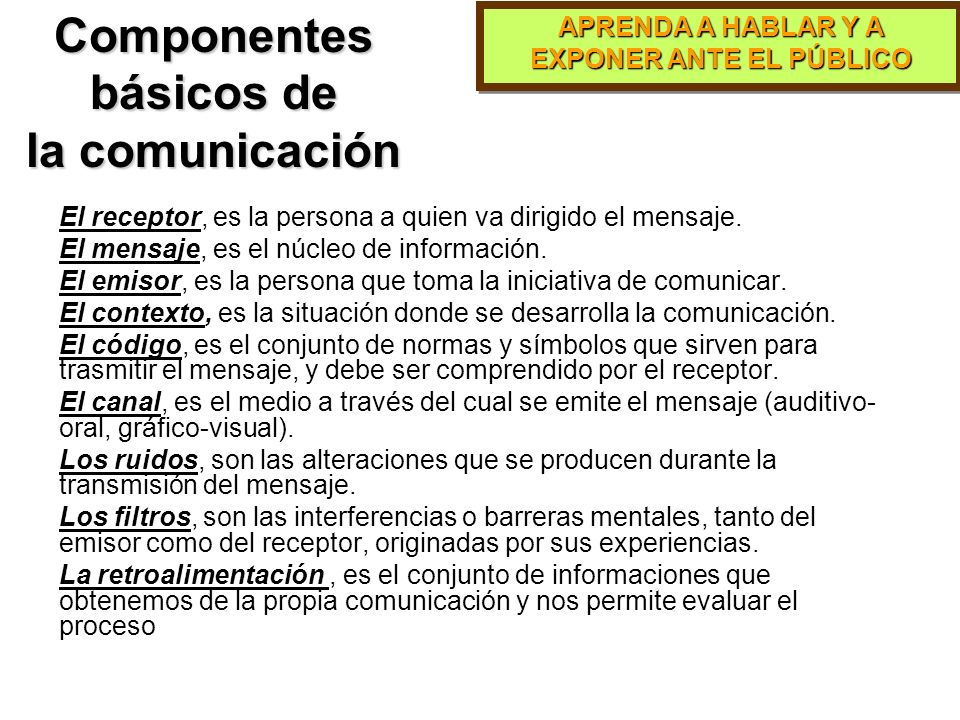 APRENDA A HABLAR Y A EXPONER ANTE EL PÚBLICO Componentes de la Comunicación Efectiva dice hace.Concordancia entre lo que se dice y lo que se hace.