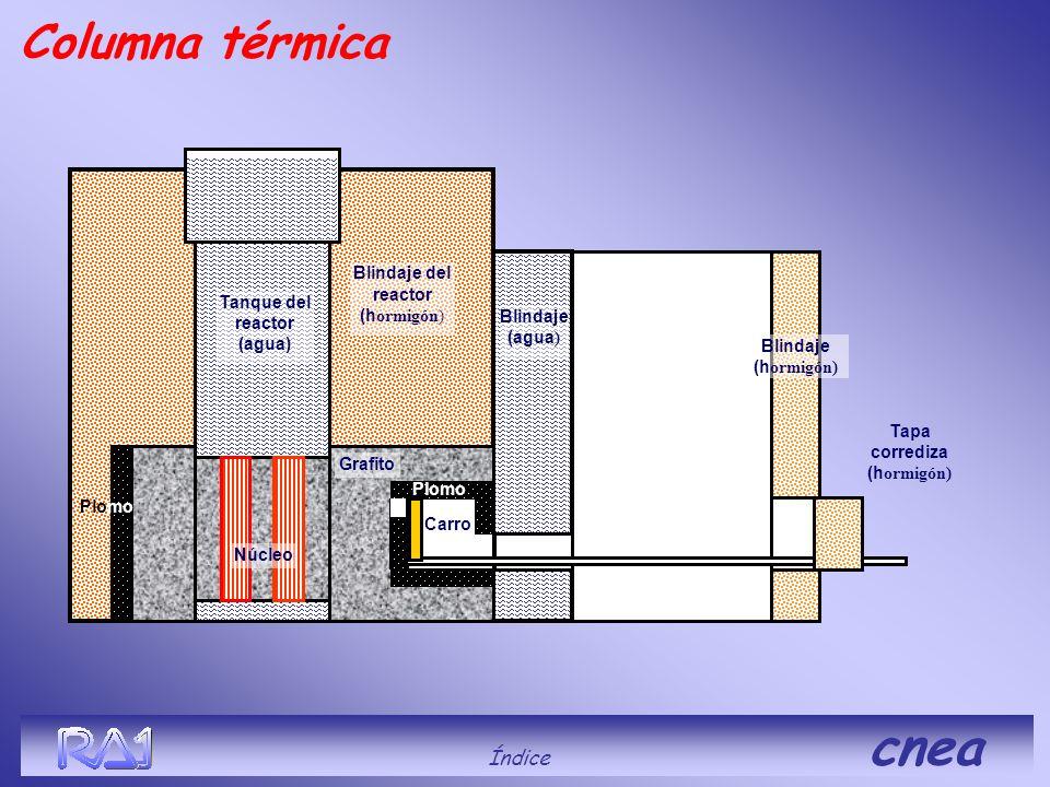 Blindaje del reactor (h ormigón) Blindaje (agua ) Tanque del reactor (agua) Grafito Núcleo Blindaje (h ormigón) Carro Tapa corrediza (h ormigón) Plomo
