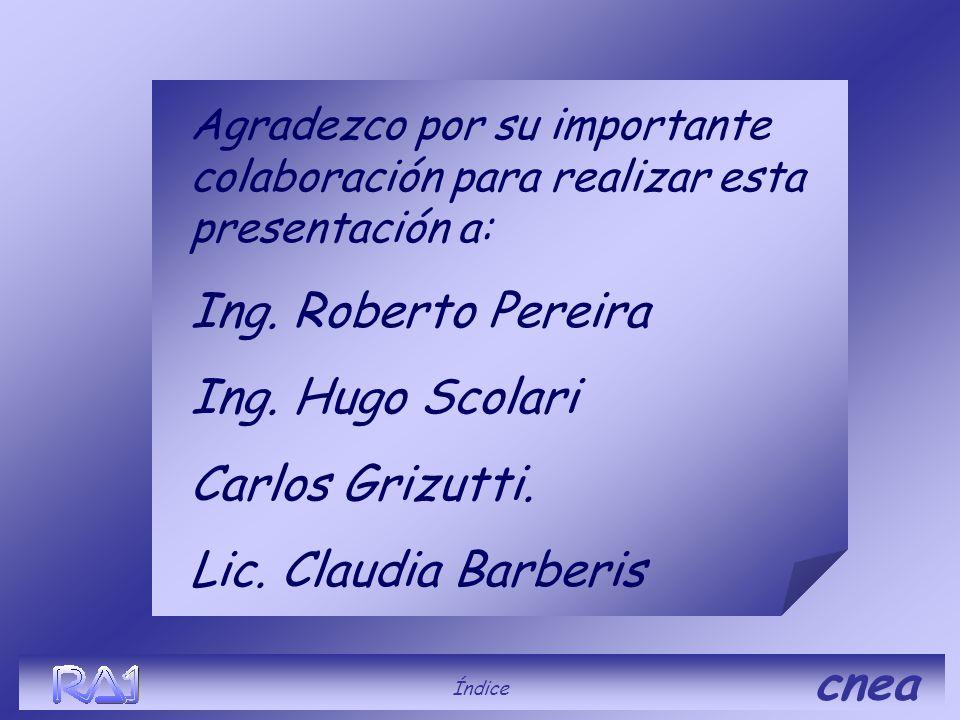 cnea Agradezco por su importante colaboración para realizar esta presentación a: Ing. Roberto Pereira Ing. Hugo Scolari Carlos Grizutti. Lic. Claudia