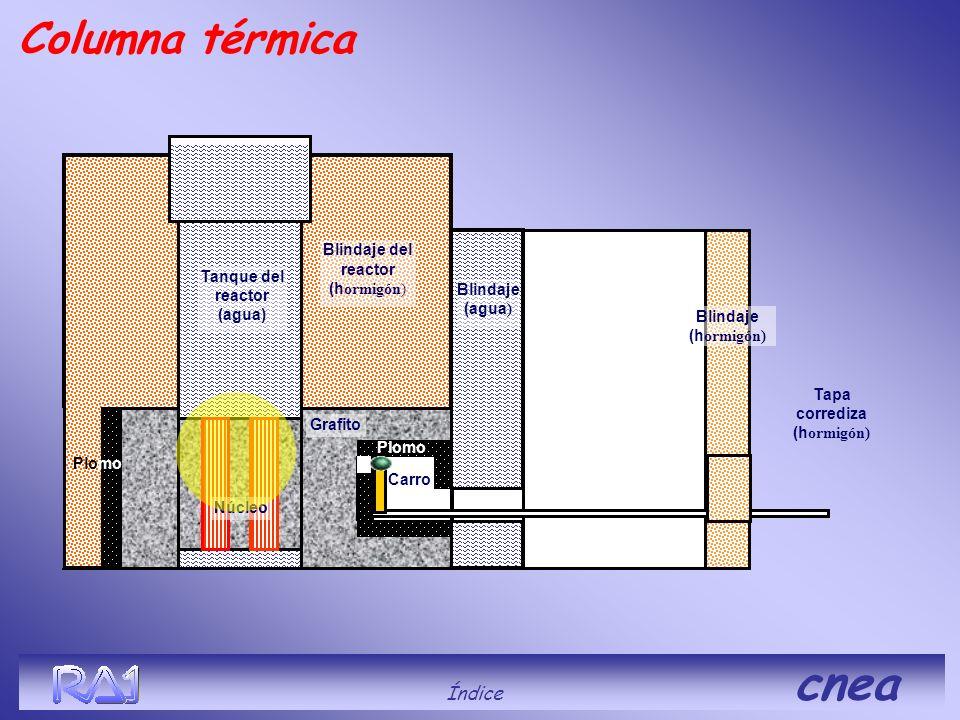 Blindaje del reactor (h ormigón) Blindaje (agua ) Tanque del reactor (agua) Grafito Blindaje (h ormigón) Carro Tapa corrediza (h ormigón) Plomo Column