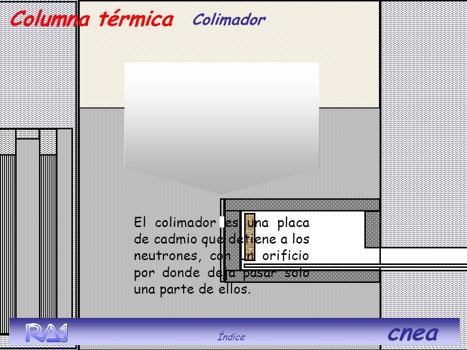 Índice cnea Columna térmica Colimador El colimador es una placa de cadmio que detiene a los neutrones, con un orificio por donde deja pasar solo una p