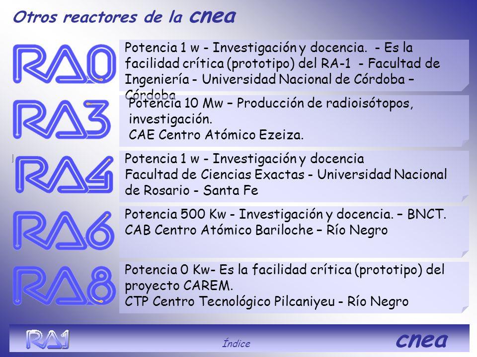 Otros reactores de la cnea Potencia 1 w - Investigación y docencia. - Es la facilidad crítica (prototipo) del RA-1 - Facultad de Ingeniería - Universi
