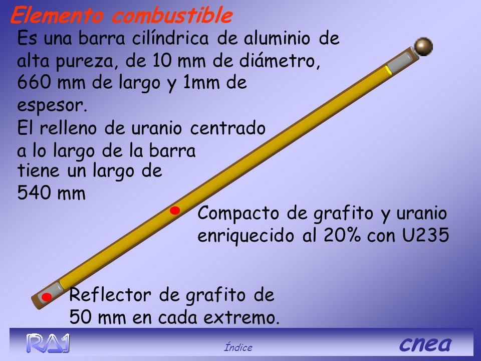 Compacto de grafito y uranio enriquecido al 20% con U235 Elemento combustible. Reflector de grafito de 50 mm en cada extremo. Es una barra cilíndrica