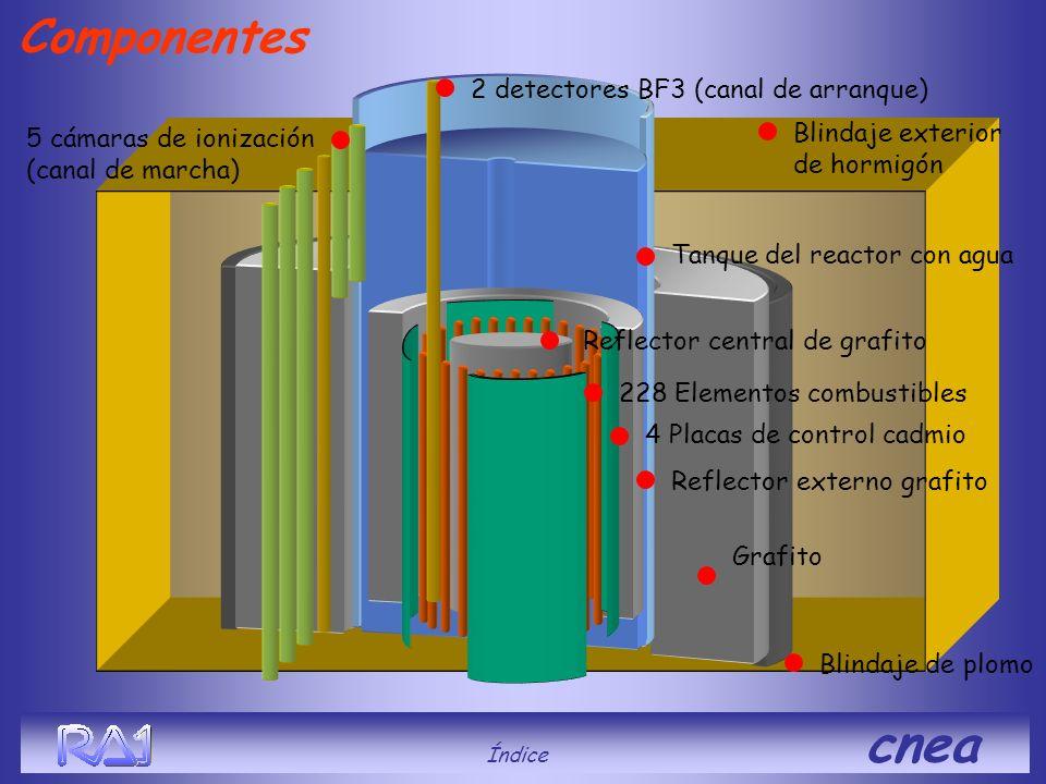 Componentes Índice cnea Reflector central de grafito 228 Elementos combustibles 4 Placas de control cadmio Blindaje exterior de hormigón Reflector ext