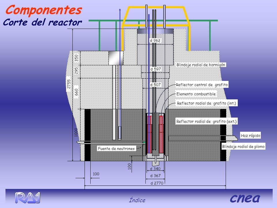 Corte del reactor Índice cnea Componentes 2755 1000 660 295 350 d 2770 100 d 340 d 367 Blindaje radial de hormigón Blindaje radial de plomo d 507 d 59