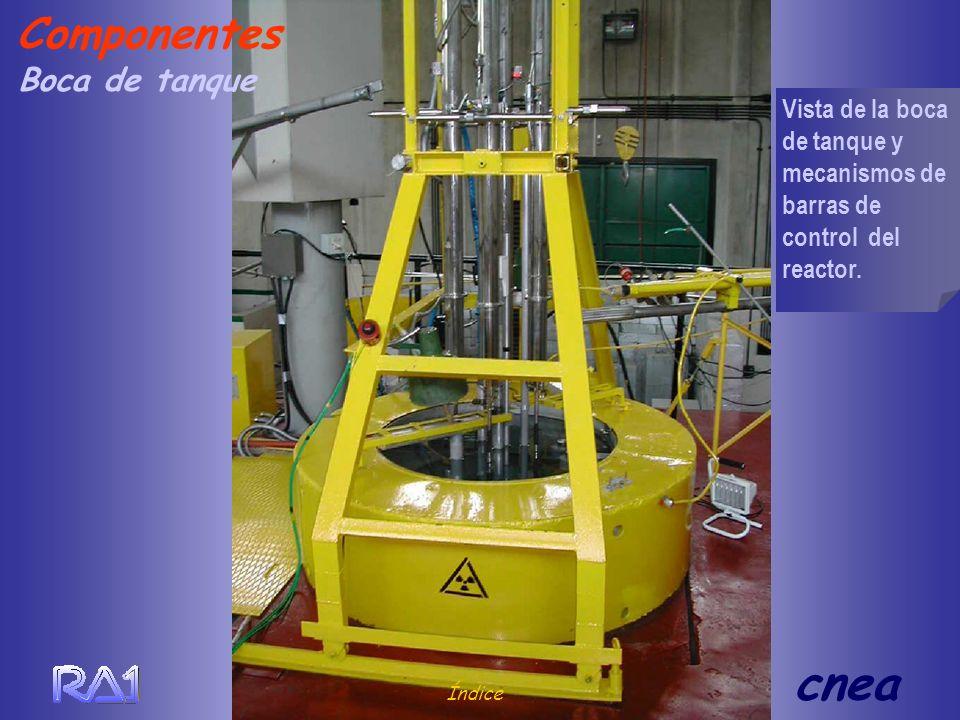 Boca de tanque Índice cnea Vista de la boca de tanque y mecanismos de barras de control del reactor. Componentes
