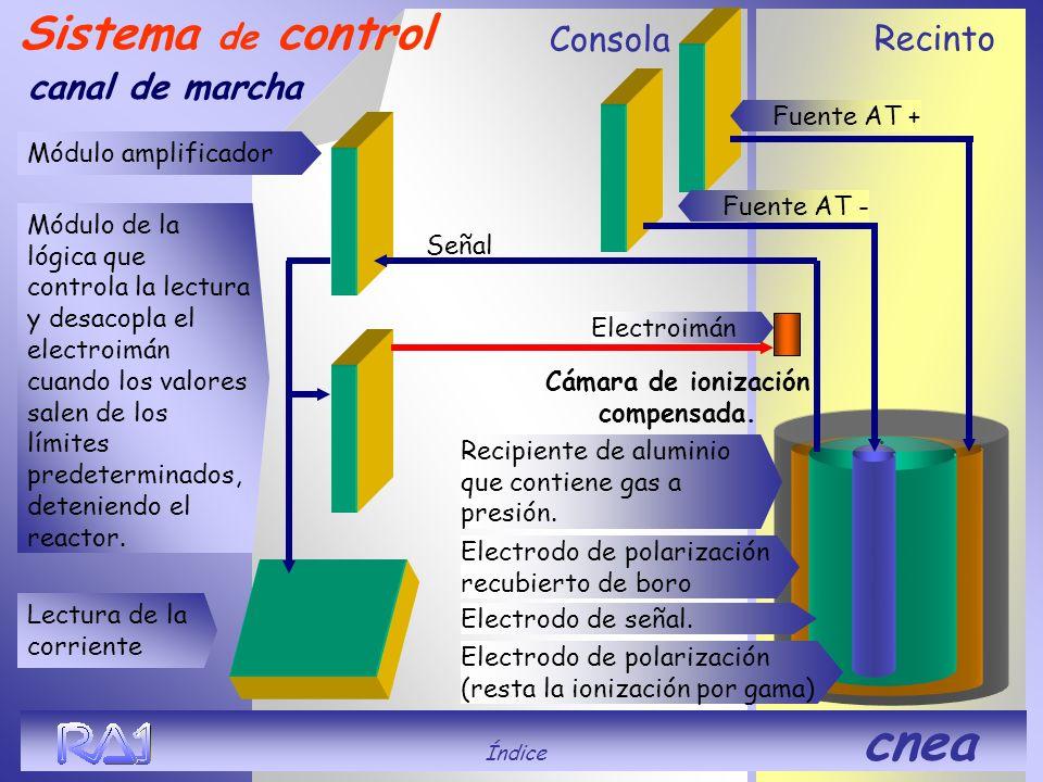 Recinto Consola Sistema de control canal de marcha Cámara de ionización compensada. Señal. Recipiente de aluminio que contiene gas a presión. Electrod