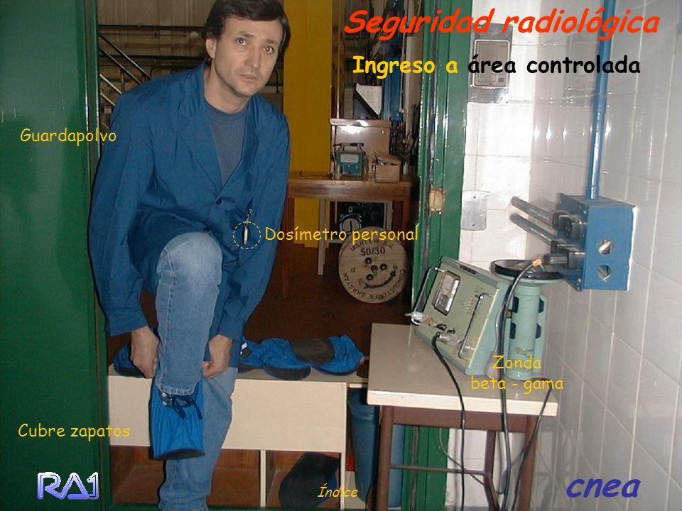 Ingreso a área controlada Seguridad radiológica Cubre zapatos Guardapolvo Dosímetro personal Zonda beta - gama Índice cnea
