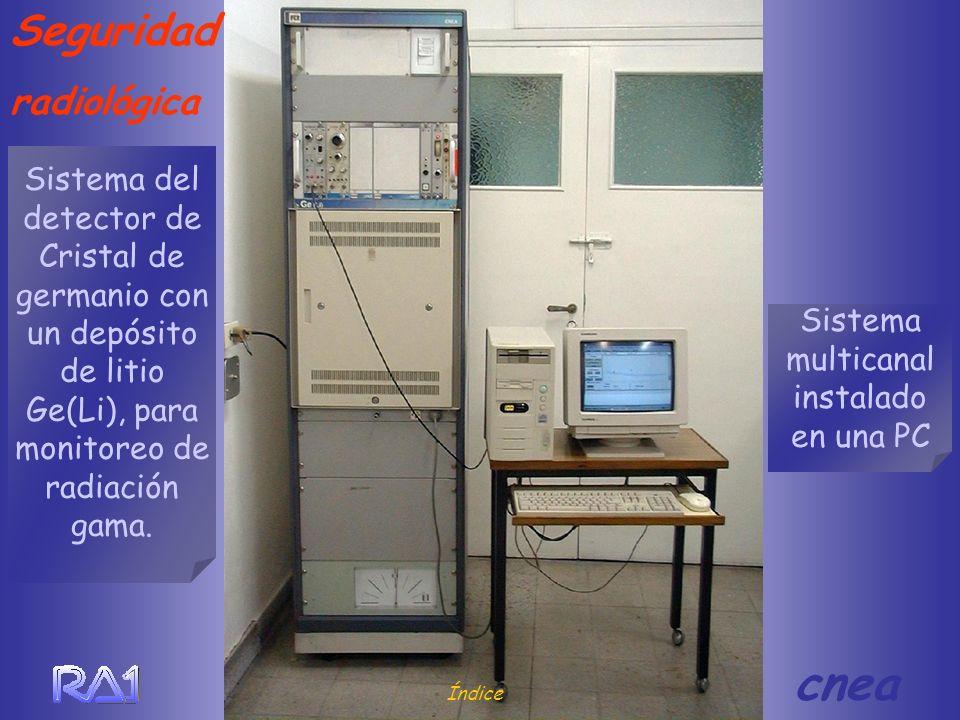 Seguridad radiológica Índice cnea Sistema multicanal instalado en una PC Sistema del detector de Cristal de germanio con un depósito de litio Ge(Li),