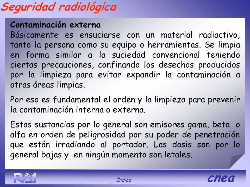 Seguridad radiológica Contaminación externa Básicamente es ensuciarse con un material radiactivo, tanto la persona como su equipo o herramientas. Se l