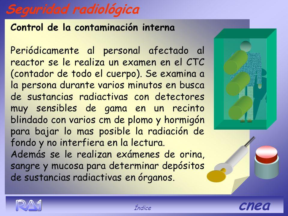 Control de la contaminación interna Periódicamente al personal afectado al reactor se le realiza un examen en el CTC (contador de todo el cuerpo). Se