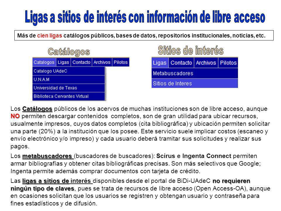 Más de cien ligas catálogos públicos, bases de datos, repositorios institucionales, noticias, etc.