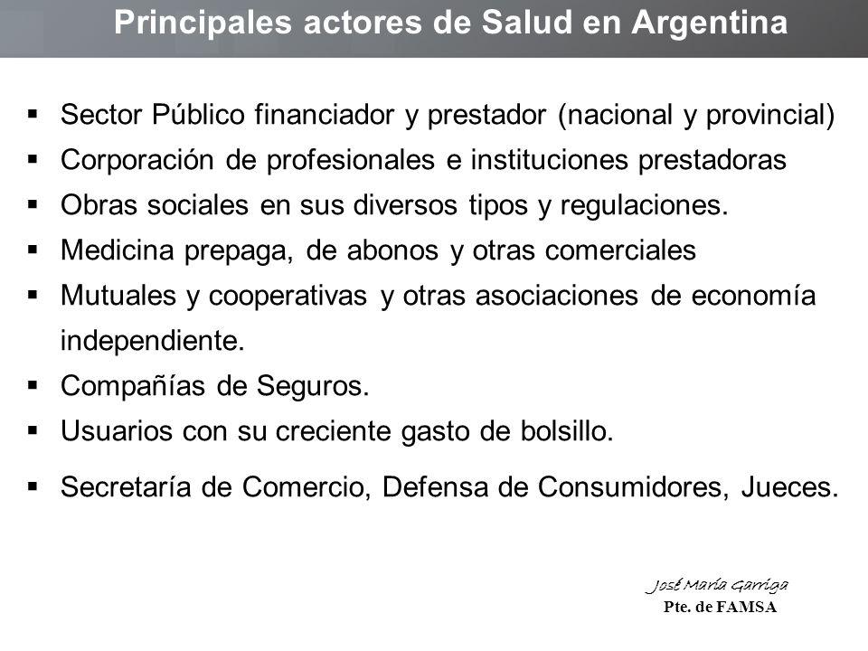 Sector Público financiador y prestador (nacional y provincial) Corporación de profesionales e instituciones prestadoras Obras sociales en sus diversos tipos y regulaciones.
