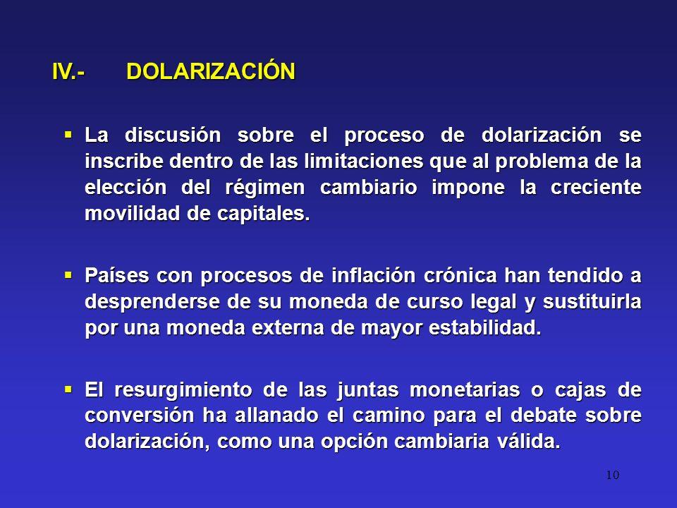 10 La discusión sobre el proceso de dolarización se inscribe dentro de las limitaciones que al problema de la elección del régimen cambiario impone la creciente movilidad de capitales.