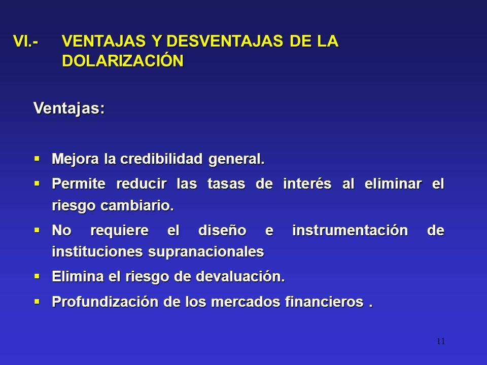 11 VI.- VENTAJAS Y DESVENTAJAS DE LA DOLARIZACIÓN Ventajas: Mejora la credibilidad general.
