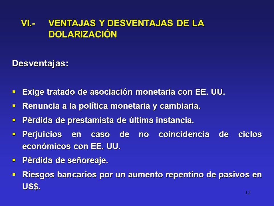 12 VI.- VENTAJAS Y DESVENTAJAS DE LA DOLARIZACIÓN Desventajas: Exige tratado de asociación monetaria con EE.