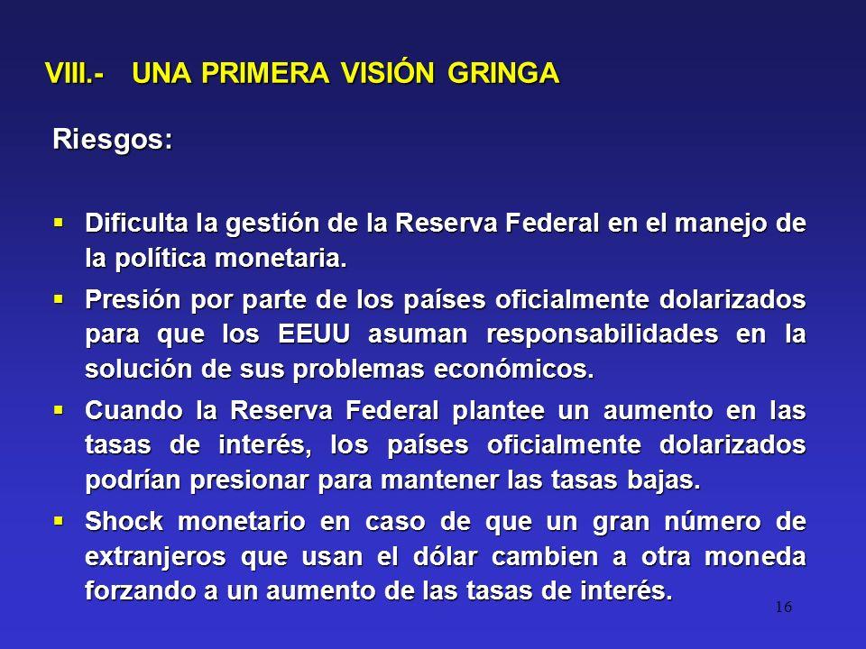 16 VIII.- UNA PRIMERA VISIÓN GRINGA Riesgos: Dificulta la gestión de la Reserva Federal en el manejo de la política monetaria.
