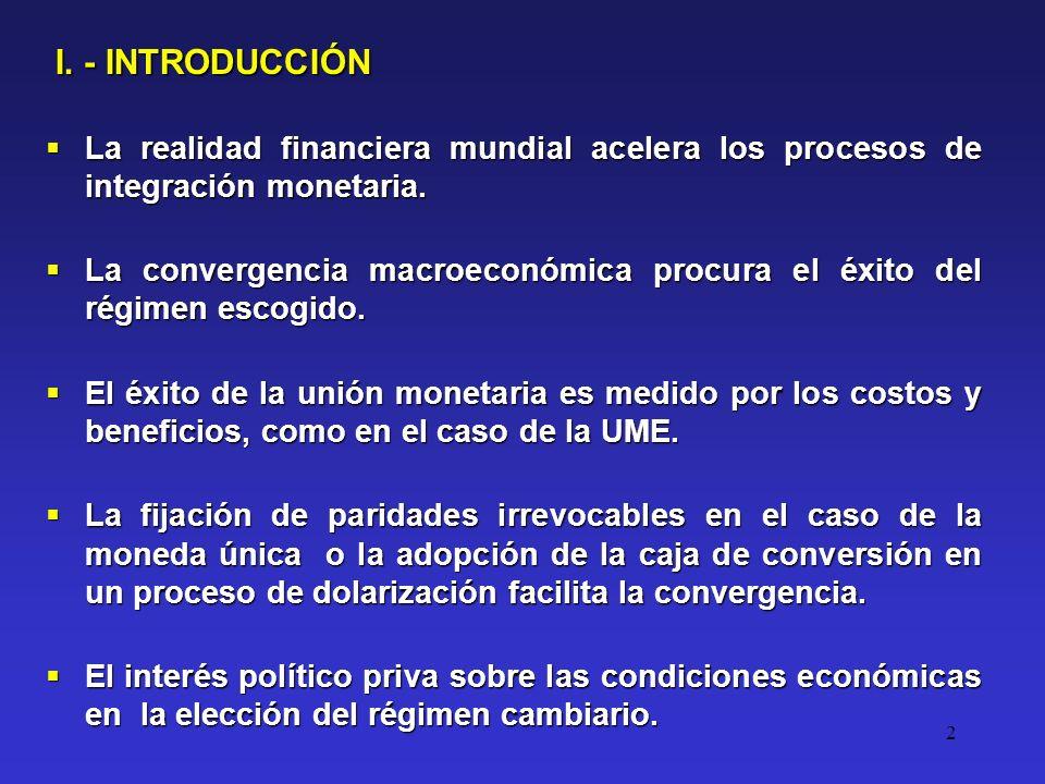 2 La realidad financiera mundial acelera los procesos de integración monetaria.