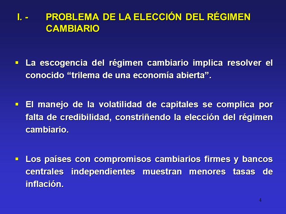 4 I. - PROBLEMA DE LA ELECCIÓN DEL RÉGIMEN CAMBIARIO La escogencia del régimen cambiario implica resolver el conocido trilema de una economía abierta.