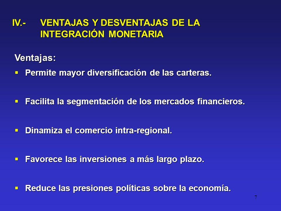 7 IV.- VENTAJAS Y DESVENTAJAS DE LA INTEGRACIÓN MONETARIA Ventajas: Permite mayor diversificación de las carteras.