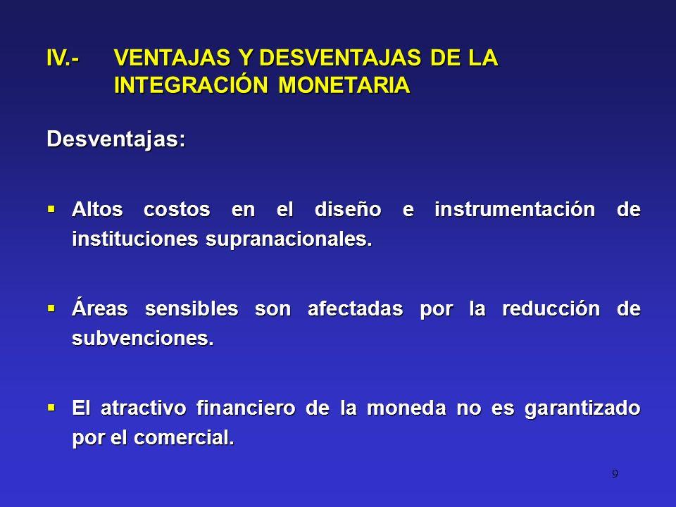 9 Desventajas: Altos costos en el diseño e instrumentación de instituciones supranacionales.