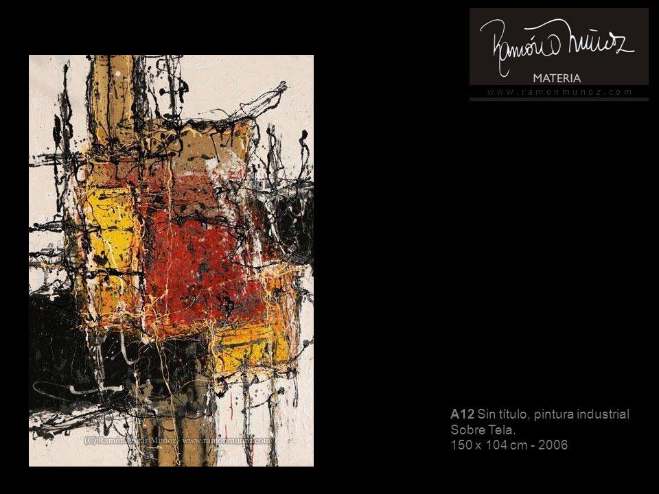 w w w. r a m o n m u n o z. c o m A12 Sin título, pintura industrial Sobre Tela.