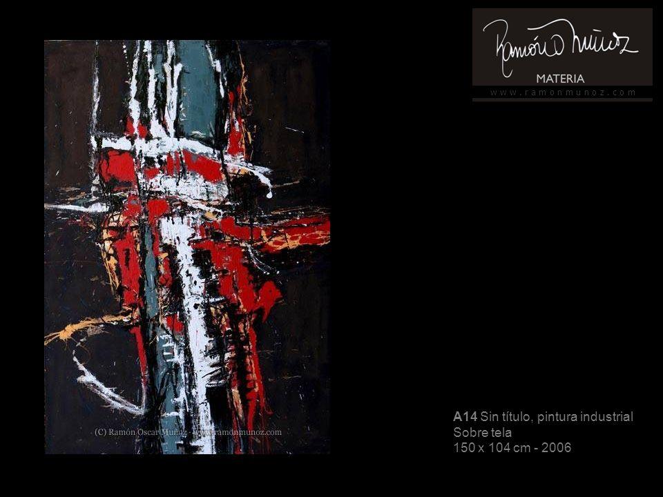 w w w. r a m o n m u n o z. c o m A14 Sin título, pintura industrial Sobre tela 150 x 104 cm - 2006