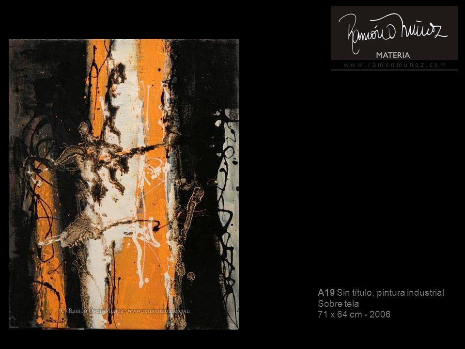 w w w. r a m o n m u n o z. c o m A19 Sin título, pintura industrial Sobre tela 71 x 64 cm - 2006