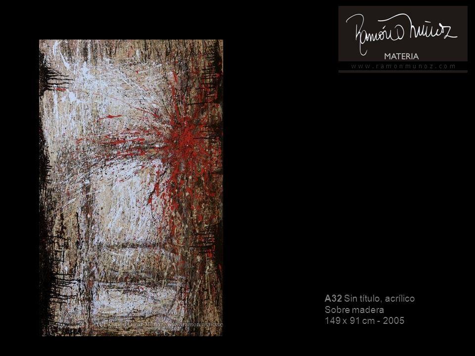 w w w. r a m o n m u n o z. c o m A32 Sin título, acrílico Sobre madera 149 x 91 cm - 2005