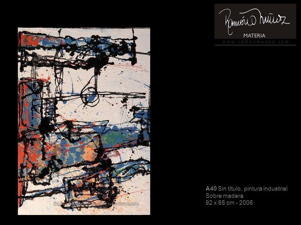 w w w. r a m o n m u n o z. c o m A40 Sin título, pintura industrial Sobre madera 92 x 65 cm - 2006
