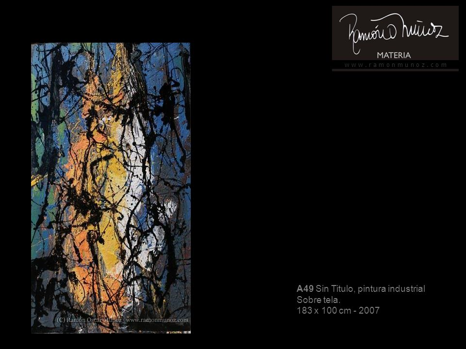 w w w. r a m o n m u n o z. c o m A49 Sin Titulo, pintura industrial Sobre tela.