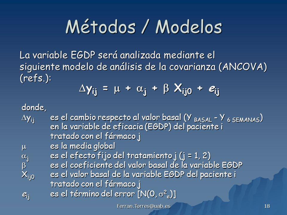 Ferran.Torres@uab.es 18 Métodos / Modelos y ij = + j + X ij0 + e ij y ij = + j + X ij0 + e ij La variable EGDP será analizada mediante el siguiente modelo de análisis de la covarianza (ANCOVA) (refs.): donde, y ij es el cambio respecto al valor basal (Y BASAL - Y 6 SEMANAS ) y ij es el cambio respecto al valor basal (Y BASAL - Y 6 SEMANAS ) en la variable de eficacia (EGDP) del paciente i tratado con el fármaco j es la media global es la media global j es el efecto fijo del tratamiento j (j = 1, 2) j es el efecto fijo del tratamiento j (j = 1, 2) es el coeficiente del valor basal de la variable EGDP es el coeficiente del valor basal de la variable EGDP X ij0 es el valor basal de la variable EGDP del paciente i tratado con el fármaco j e ij es el término del error [N(0, 2 e )]