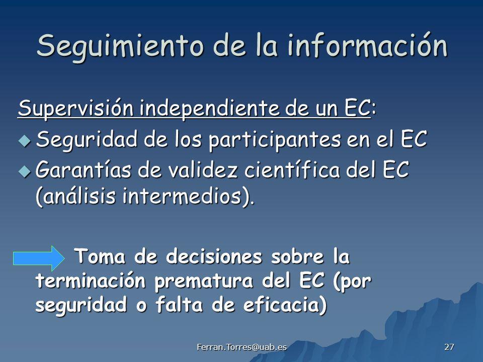 Ferran.Torres@uab.es 27 Seguimiento de la información Supervisión independiente de un EC: Seguridad de los participantes en el EC Seguridad de los participantes en el EC Garantías de validez científica del EC (análisis intermedios).