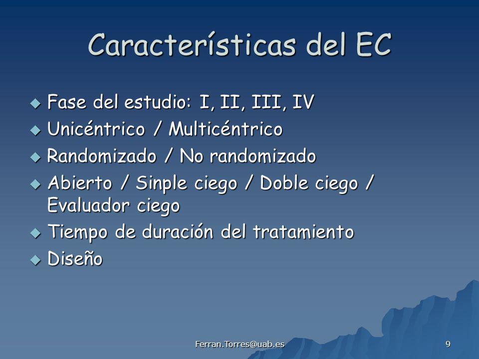 Ferran.Torres@uab.es 9 Características del EC Fase del estudio: I, II, III, IV Fase del estudio: I, II, III, IV Unicéntrico / Multicéntrico Unicéntrico / Multicéntrico Randomizado / No randomizado Randomizado / No randomizado Abierto / Sinple ciego / Doble ciego / Evaluador ciego Abierto / Sinple ciego / Doble ciego / Evaluador ciego Tiempo de duración del tratamiento Tiempo de duración del tratamiento Diseño Diseño
