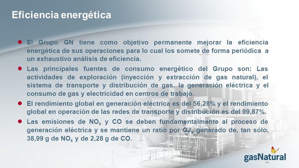 Eficiencia energética El Grupo GN tiene como objetivo permanente mejorar la eficiencia energética de sus operaciones para lo cual los somete de forma periódica a un exhaustivo análisis de eficiencia.