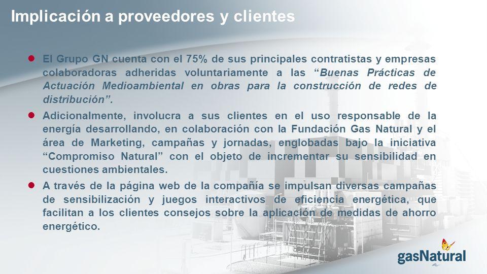 Implicación a proveedores y clientes El Grupo GN cuenta con el 75% de sus principales contratistas y empresas colaboradoras adheridas voluntariamente a las Buenas Prácticas de Actuación Medioambiental en obras para la construcción de redes de distribución.