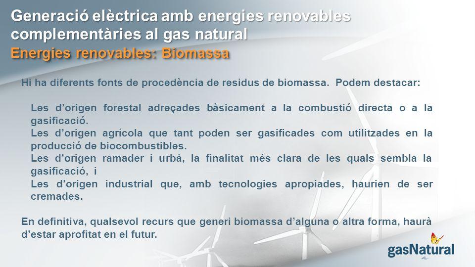 Generació elèctrica amb energies renovables complementàries al gas natural Energies renovables: Biomassa Hi ha diferents fonts de procedència de residus de biomassa.