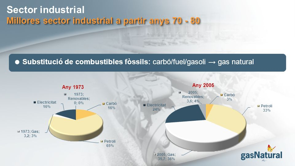 Sector industrial Millores sector industrial a partir anys 70 - 80 Substitució de combustibles fòssils: carbó/fuel/gasoli gas natural Any 1973 Any 200