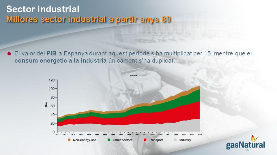 Sector industrial Millores sector industrial a partir anys 80 El valor del PIB a Espanya durant aquest període sha multiplicat per 15, mentre que el consum energètic a la indústria únicament sha duplicat.
